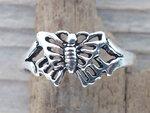 teenring vlinder zilver