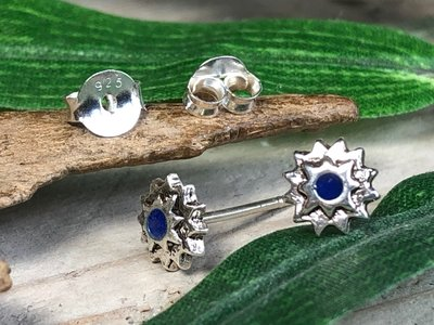 oorknopjes ster blauw zilver