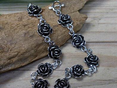 armband roosjes zilver lengte 18,3 cm tot 19,3 cm