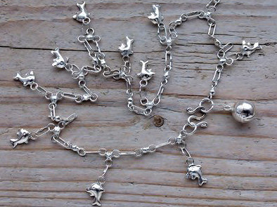 enkelketting dolfijnen bedels zilver