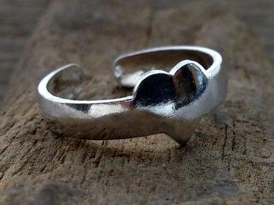 teenring hartje zilver (maat 14mm)