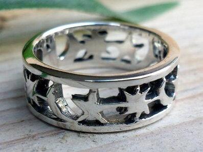 ring sterren zilver (maat 16¼ - 16¾)