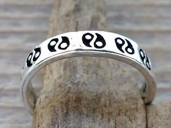 teenring yin yang zilver (begin-maat 14mm)