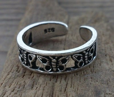 teenring vlinder zilver (begin-maat 15mm)