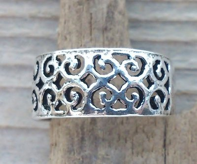 teenring zilver fantasy (begin-maat 15mm)