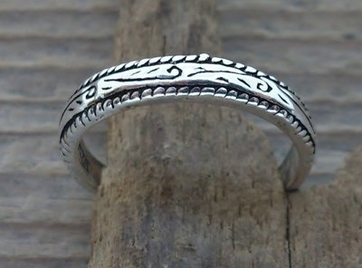 teenring zilver fantasy (begin-maat 14,5mm)
