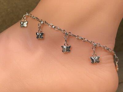 enkelketting met vlinder bedels zilver