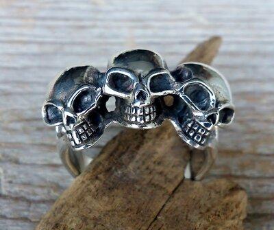 ring trio skulls zilver (maat 18 - 20¼)