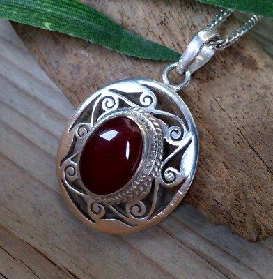 hanger oranje-bruine steen zilver