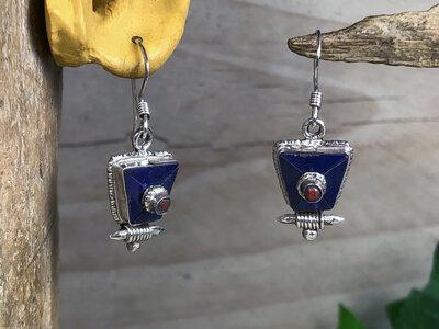 oorbellen blauw zilver - HES402