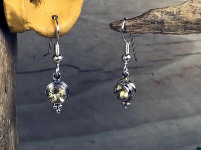 oorbellen geel zilver - HES224