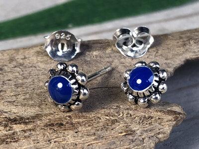 oorknopjes bloem blauw zilver leela