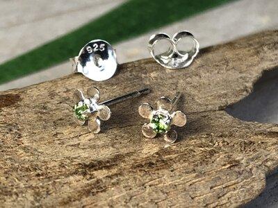 oorknopjes bloem groen zilver