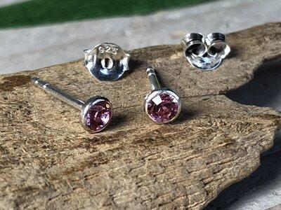 oorknopjes roze zilver Ø 4mm