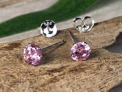 oorknopjes steentje roze zilver Ø 5mm