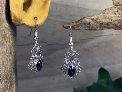 oorbellen zwart zilver - HES321