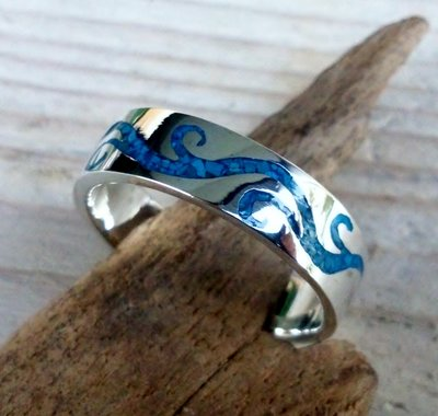 ring tribal blauw zilver v.a.