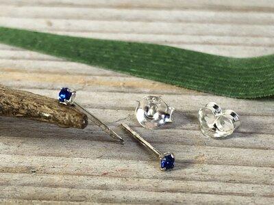 oorknopjes zilver steentje blauw Ø 2mm
