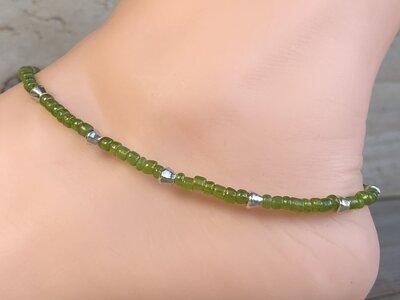 enkelketting kraaltjes groen zilver