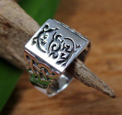 ring gekko+keltische knoop zilver (maat 24)