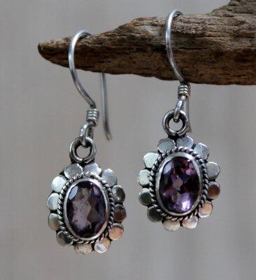 oorbellen paars zilver