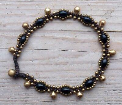 enkelbandje kraaltjes zwart-goud met belletjes