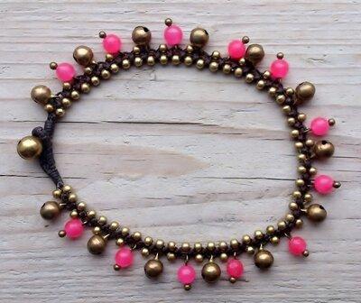 enkelbandje kraaltjes roze-goud met belletjes