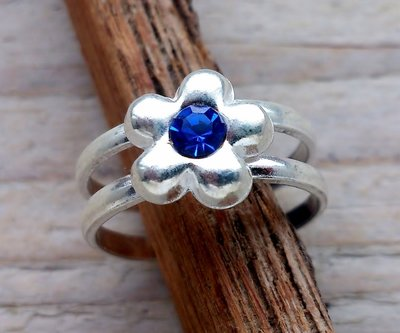 teenring zilver blauw (begin-maat 15mm)