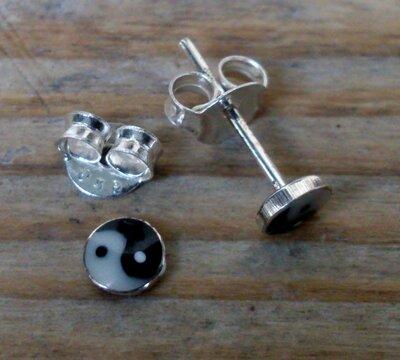 oorknopjes yin yang Ø 4mm zilver