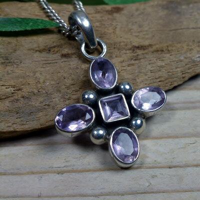 hanger paarse steentjes zilver