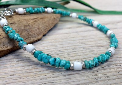 armband turquoise-wit zilver 19,2 cm