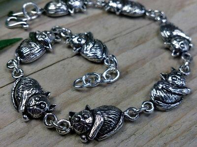 armband katten zilver