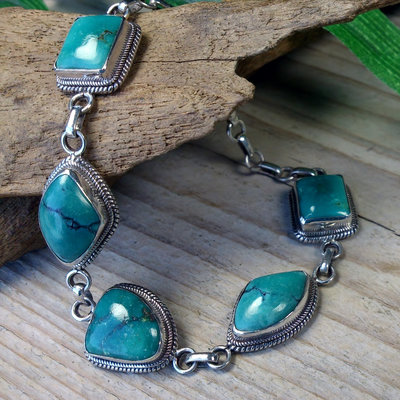 armband zilver turquoise stenen