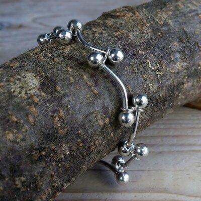 armband 'piercing' zilver lengte 20 cm