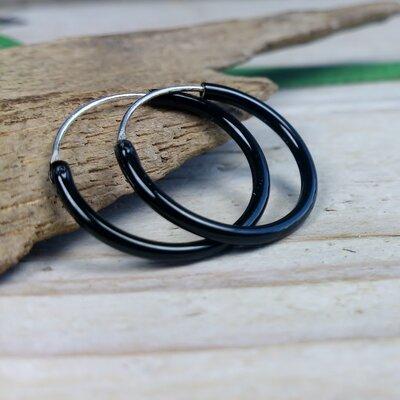 oorringetjes zilver 1,5 mm dik zwart Ø 16 mm