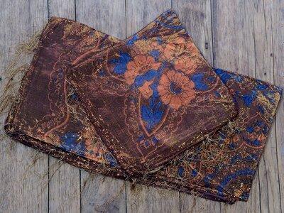 sjaal -goud- bruin/bloem