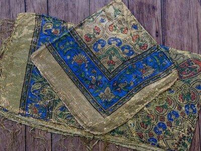 sjaal -goud- beige/blauw