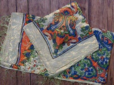 sjaal -goud- crème/oranje/blauw/groen