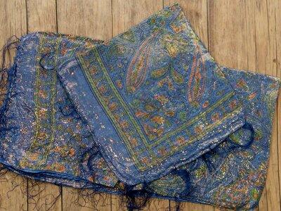 sjaal -goud- blauw
