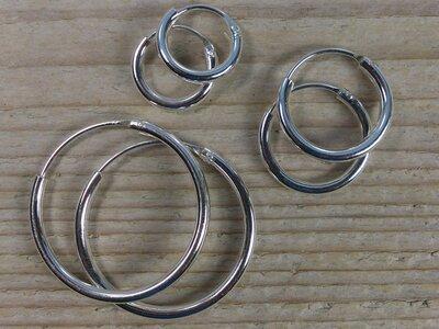 oorringetjes zilver 2mm dik Ø 12-16-25 mm v.a.