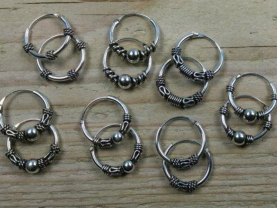 oorringetjes zilver Ø 12 mm kies uit 7 modellen