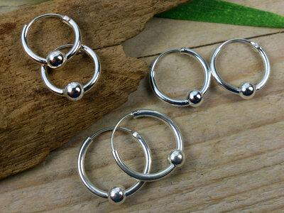 oorringetjes zilver met balletje 1,5 mm dik Ø 12-14-16 mm