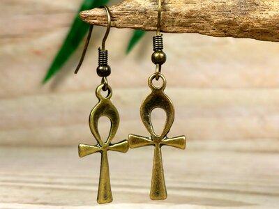 oorbellen ankh bronskleur