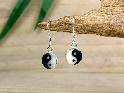 oorbellen yin yang zilver Ø 8mm