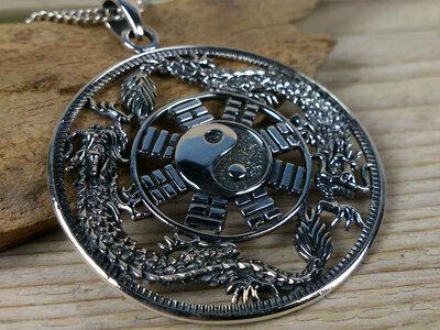 hanger yin yang draak zilver Ø 39mm