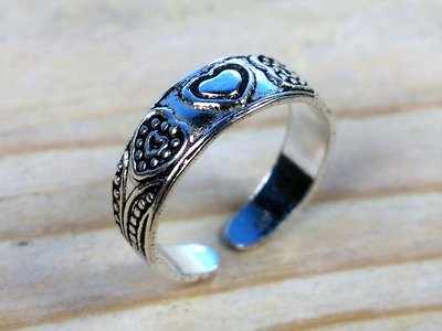 teenring zilver hartjes (begin-maat 14mm)