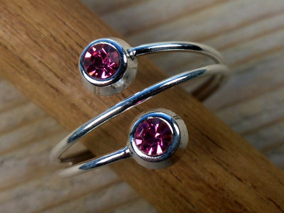 teenring zilver roze (begin-maat 17mm)