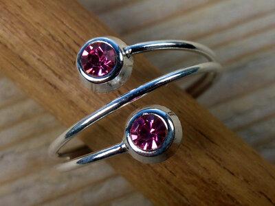 teenring zilver roze (maat 17mm)