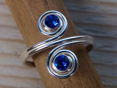 teenring zilver donkerblauw (begin-maat 16mm)