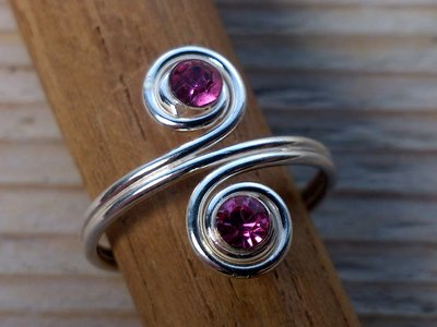 teenring zilver roze (begin-maat 16mm)